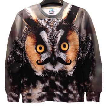 Realistic Owl Face with Mustache Graphic Print Unisex Pullover Sweatshirt