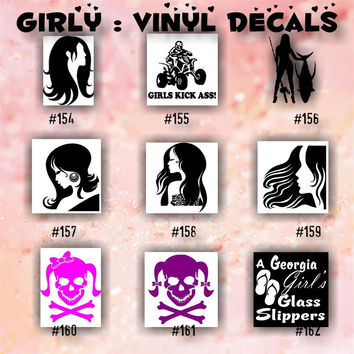 GIRLY vinyl decals - 154-162 - car sticker - custom vinyl decal - heart sticker - hearts - girls - fairy - skulls with bows - car decal