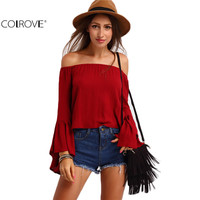 2016 Spring/Summer Solid Burgundy Off the Shoulder Long Flare Sleeve Sexy Top Loose Shirt Designer Cheap Blouse