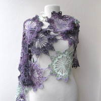 Hand crochet rectangle lace shawl stole mohair by KnitAndWedding