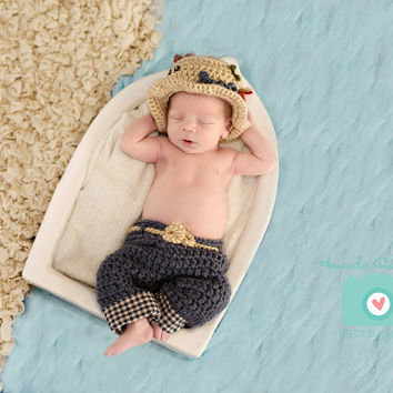 Newborn Fishing Hat & Pants - Photo Prop - Baby Boy