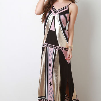 Mixed Patterned Print Metallic Trim V-Neck Cami Maxi Dress