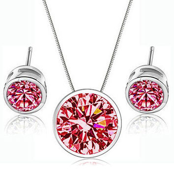 2015 Hot New Fashion Party Wedding Zircon Round Pendant Ear Studs Earrings And Necklace Jewelry Sets For Women 76XN