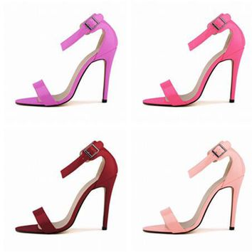 Summer Fashion Bright Lacquer Leather Buckle Band Exposed Toe Sandals Women Heels Shoes-3