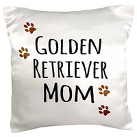 """3dRose pc_154126_1 Golden Retriever Dog Mom Doggie x Breed Brown Paw Prints Doggy Lover Proud Pet Owner Love Pillow Case, 16"""" x 16"""""""