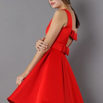 Glam Red Open Back Dress with Bow Decor
