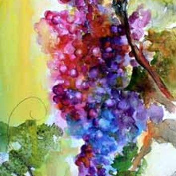 Burgundy Wine Grapes Original Watercolor