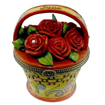 Jim Shore June Rose Covered Box Trinket Box