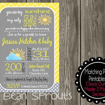 Personalized Boy Girl You Are My Sunshine Baby Shower Sprinkle Invitation    PRINTABLE   YOU PRINT