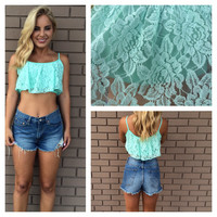 Camille Lace Crop Tank - Mint