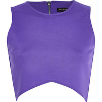 River Island Womens Purple curved hem crop top