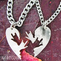 Couples heart jewelry, ASL love hands, half dollar