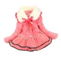 Kids Girls Baby Soft Faux Fleece Winter Warm Lace Jacket Coat Snowsuit Outwear