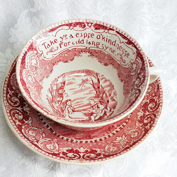 Vintage R&M Rowland Marsellus Take Ye a Cuppe Cup and Saucer Victorian Red Transferware Earthenware English Country Side Auld lang syne