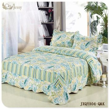 Jessy Home Patchwork Quilt Comfort Vintage Jade 90-Inch by 90-Inch King/Queen Quilt Set Luxury Microfiber Printed