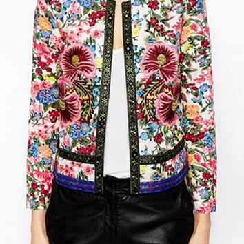 Ethnic O neck Embroidered Contrast Color Floral Print Paisley Jacket 2014 New Women's Vintage Thin Padded Jacket Coats