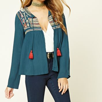 Open-Front Peasant Top