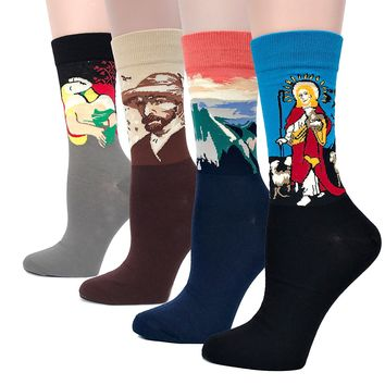 Field4U 4 Pairs Women's Famous Painting Art Printed Casual Crew Socks