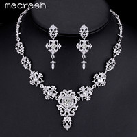 Mecresh Gorgeous Crystal Wedding Jewelry Sets Silver Plated Rhinestone Flower Earrings Necklace Bridal Jewelry Sets MTL432