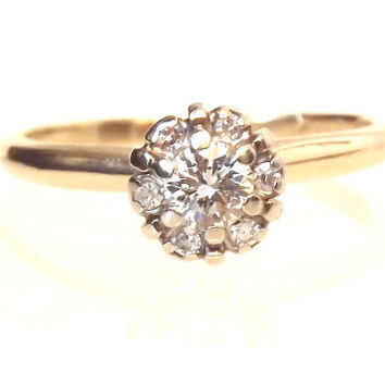 Vintage Diamond Cluster Engagement Ring - 14K Yellow Gold