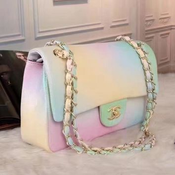 CHANEL Women Fashion Shopping Leather Multicolor Shoulder Bag Satchel Crossbody