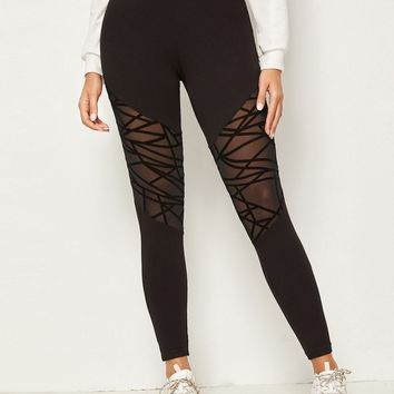Wide Waistband Geo Mesh Panel Leggings