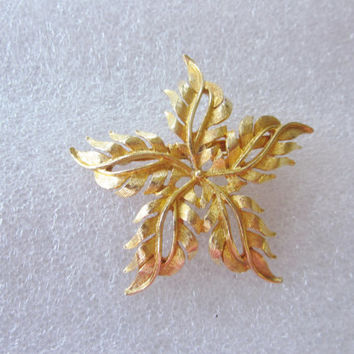Vintage Large Flower Brooch Goldtone Star Flower Pin Costume Jewelry Large Heavy Gold Brooch