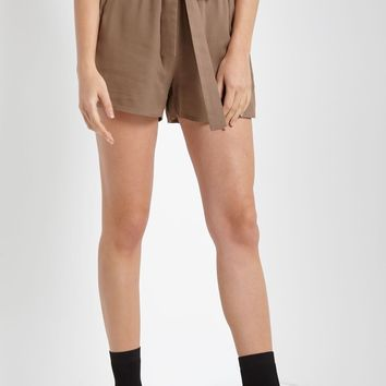 Belted Tie Front Shorts