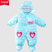 New 2016 Baby Winter Romper cotton-padded One Piece Newborn Baby Girl Warm Jumpsuit Autumn Fashion baby's wear Kid Climb Clothes