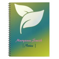 Aroma Therapy Leaves with Green and Blue Gradient Notebook