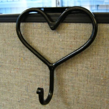 Simple Metal Heart Coat Hook For Office Cubicle Divider Partition Hand Forged - Satin Black