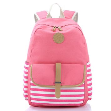 Pink Striped Canvas Casual Backpack Travel Bag Daypack