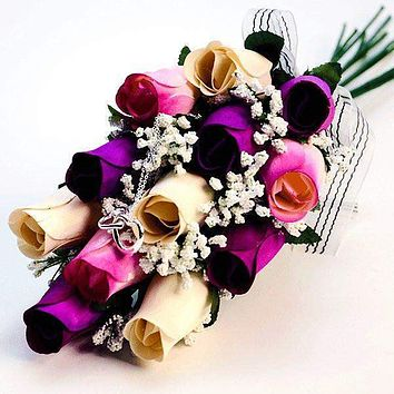 Cream, Deep Purple, & Lavender Ombré Dozen Bouquet | Jewelry Roses®