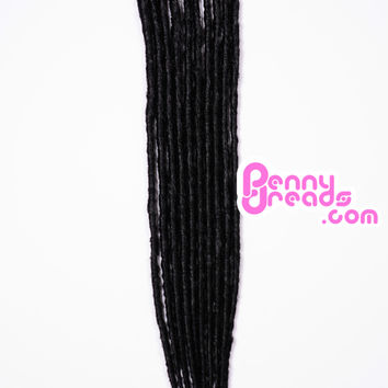Jet Black Single Ended Synthetic Dreadlock Extensions (Pre-Order)