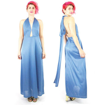 70s Blue Backless Evening Gown Halter Maxi Dress Open Back Dress Draped Grecian Gown Cut Out Prom Dress Sexy Vintage Bridesmaid Dress (XS/S)