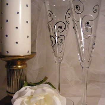 wedding toasting flutes with Swarovski crystal rhinestones -painted with black and silver swirls