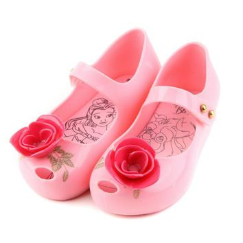 NEW Arrivals Beauty And Beast Rose Flower Jelly Shoes Girls Jelly Sandals Girls Princess Sandals kids Sandals 13-18CM