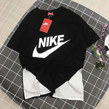 Nike Short Sleeve New Sports Comfortable Breathable Round Neck Men T-Shirt Black