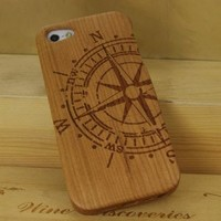 Compass Real Natural Wood Wooden Hard Cover Case Protective Shell for iPhone 5 5G Style 2