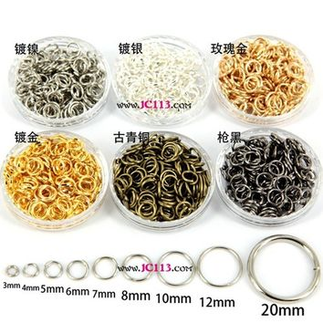 2016 Silver/Silver White/Bronze/Gold/Rose Gold/Black Tone Open Jump Rings Jewelry Findings Kit Accessories 3mm£¨40Pcs£©-20mm( 24