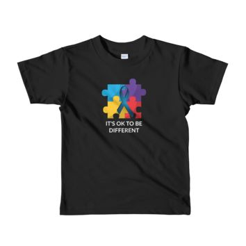 Its Ok To Be Different Autism Awareness Graphics Short sleeve kids t-shirt