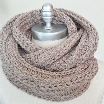 Taupe Scarf, Infinity Scarf, Knit Fall Scarf, Ribbed Knit Loop Scarf, Mobius Scarf, Fashion Knitwear, Spring Essentials,