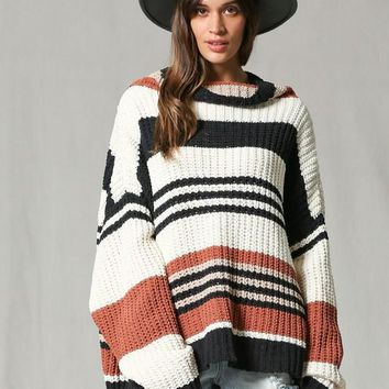 Striped Turtleneck Over Sized Sweater
