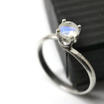 Blue Moonstone Ring, Moonstone Engagement Ring, Gemstone Ring, Blue Jewel Ring