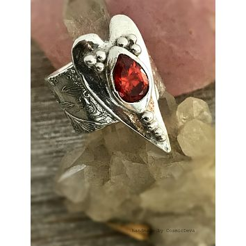 Sterling Silver Heart Ring Red Fire Opal Heart Wide Band Ring - SIZE 8 Ring