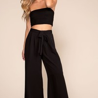 Justine Wide Leg Pants - Black