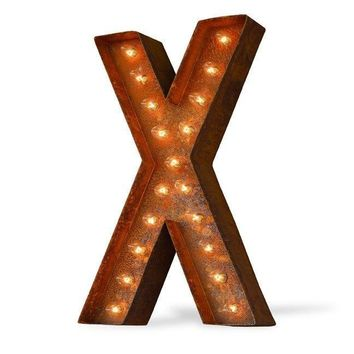 "12"" Letter X Lighted Vintage Marquee Letters (Modern Font/Rustic)"