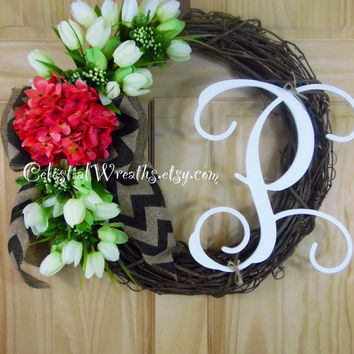 spring wreath - summer wreath - personalized wreath - summer wreath.hydrangea wreath.monogram wreath.housewarmign gift,outdoor wreath