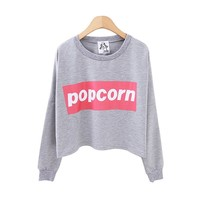 ZLYC POPCORN Casual Sweatshirt for Women
