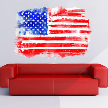USA Flag Watercolor, decal for housewares